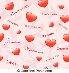 vector pink floral texture with hearts