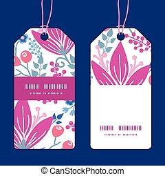 Vector pink flowers vertical stripe frame pattern tags set