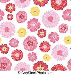 Vector Pink Gold Field Flowers Seamless Pattern