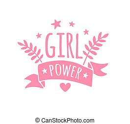 Vector pink hand drawn doodle girl power