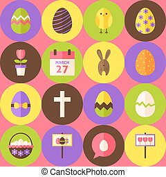 Vector Pink Happy Easter Seamless Pattern with Circles