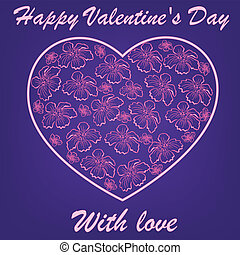 pink heart with flowers on blue background