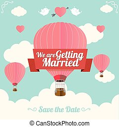 Vector. Pink hotair ballons fly with clouds. Wedding card. Flat Design