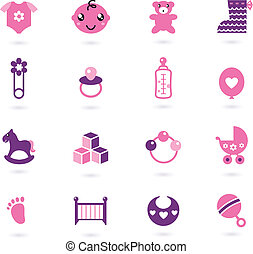 Vector pink Icons collection for baby girl isolated on white