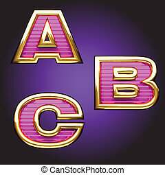 Vector pink letters with gold