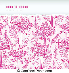 Vector pink lillies lineart horizontal torn seamless pattern background with hand drawn elements
