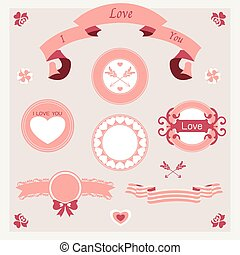 vector pink love set ornament