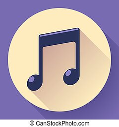 Vector pink music icon with long shadow. Flat design style.