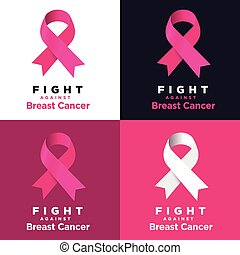 Vector pink ribbon on various backgrounds. Fight against Breast cancer.