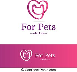 Vector pink ribbon sign. Cat head with heart logotype....