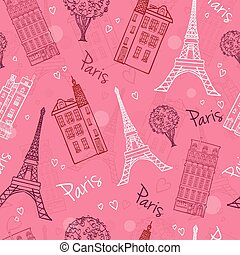 Vector Pink Romantic Paris Streets Seamless Pattern with...