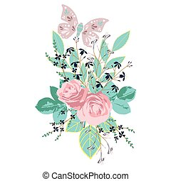 Vector pink roses bouquet with teal leaves and purple butterfly.