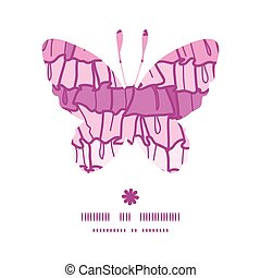 Vector pink ruffle fabric stripes butterfly silhouette pattern frame