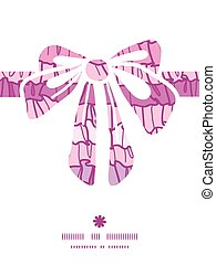Vector pink ruffle fabric stripes gift bow silhouette pattern frame