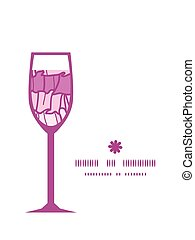 Vector pink ruffle fabric stripes wine glass silhouette pattern frame