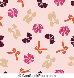 Vector pink seamless pattern with bows