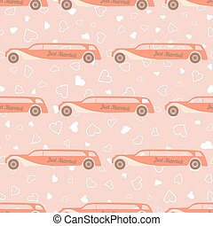 Vector pink seamless pattern with wedding car - Vector pink...