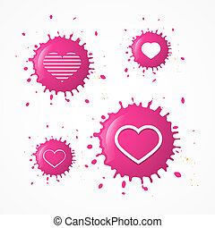 Vector Pink Splash Heart Symbols Set Isolated on White Background