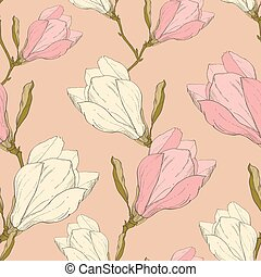 Vector Pink Vintage Magnolia Flowers Fabric Retro Repeating...