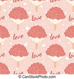 Vector pink wedding seamless pattern with bouquet