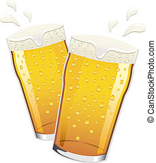 Vector pints of beer toasting - Two pints of lager beer with...