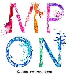 vector, Pintura, salpicadura, fuente,  M,  N,  O,  P