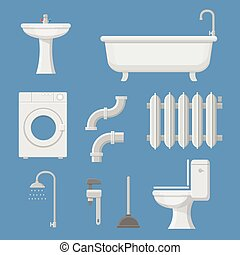 Vector Pipeline plumbing, heater system and Plumber service tools icons set vector