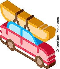 vector, piragüismo, isométrico, icono, coche, barco, ...