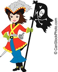 Vector Pirate Girl with Jolly Roger Flag