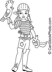 Vector Pirate Girl with Parrot and Sword