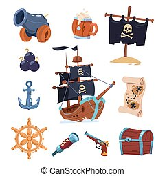 Vector pirate paraphernalia isolated on white background