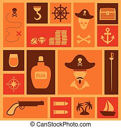vector pirate set icons,