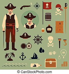 vector pirate set icons