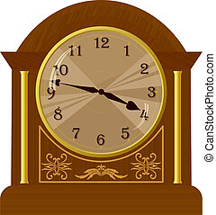 vector, piso, viejo, ilustración, reloj