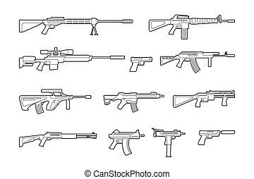 vector, pistolas, iconos, máquina, Conjunto, línea, armas de...