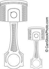 Vector piston - Vector Car Piston - contour outline...