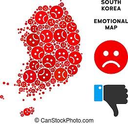 Vector Pitiful South Korea Map Mosaic of Sad Smileys -...