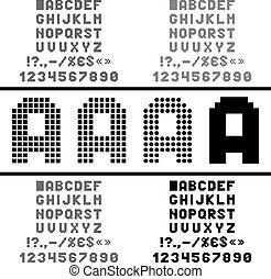 Vector pixel alphabet - Pixel alphabet with numbers and...