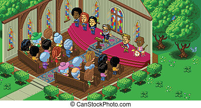 Vector Pixel Art Church Service - Vector illustration of a...