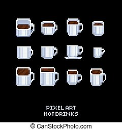 Vector pixel art icon set - collection of white coffee and tea hot drink mugs - isolated illustration