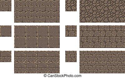 Vector pixel art seamless ancient stone texture. brick wall pattern. Retro 8-bit game element.