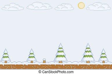 Vector pixel art winter day for video games