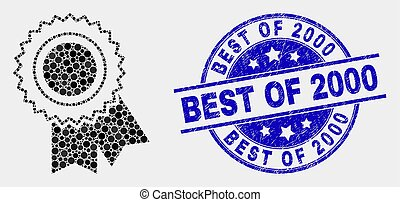 Vector Pixel Award Seal Icon and Scratched Best of 2000 Stamp