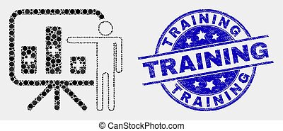 Vector Pixel Bar Chart Presentation Icon and Grunge Training Stamp