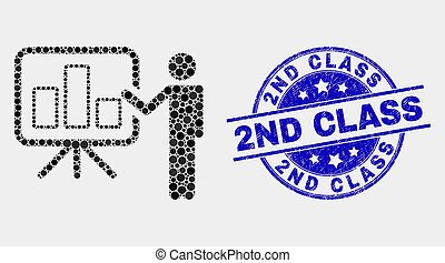 Vector Pixel Bar Chart Public Report Icon and Distress 2Nd Class Watermark