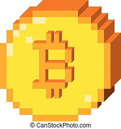 Vector pixel bitcoin 3D icon