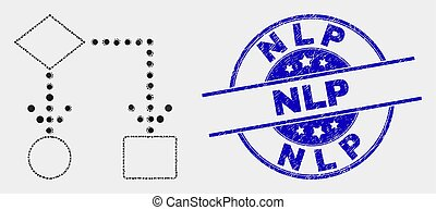 Vector Pixel Block Diagram Icon and Scratched Nlp Watermark