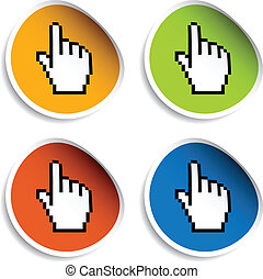 vector pixel cursor hand stickers