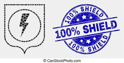 Vector Pixel Electric Shield Icon and Distress 100% Shield Stamp