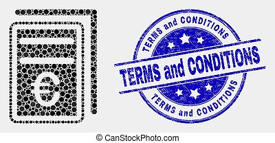 Vector Pixel Euro Price Pages Icon and Distress Terms and Conditions Watermark